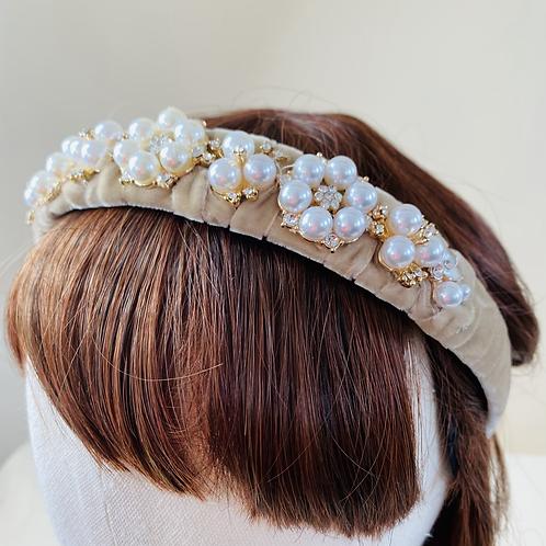 Velvet Head Band  - Pearls & Sparkle set on gold