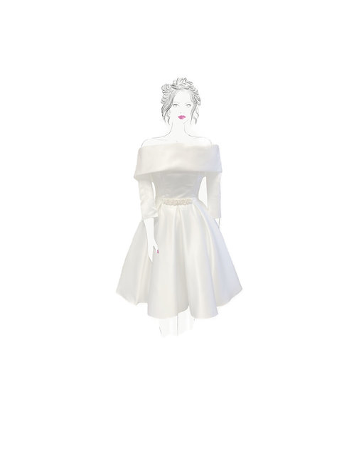 Pearltastic Dress! In pale ivory duchess satin