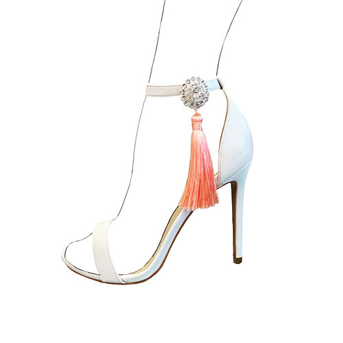 Silver diamante & tassel shoe accessories