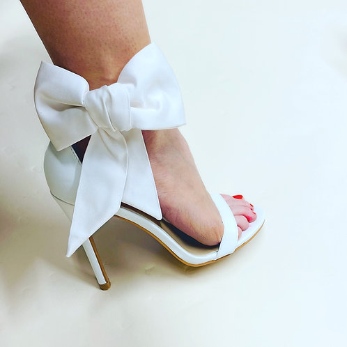 Silk satin large bows shoe accessory