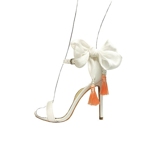 Silk double bow & tassel shoe accessories
