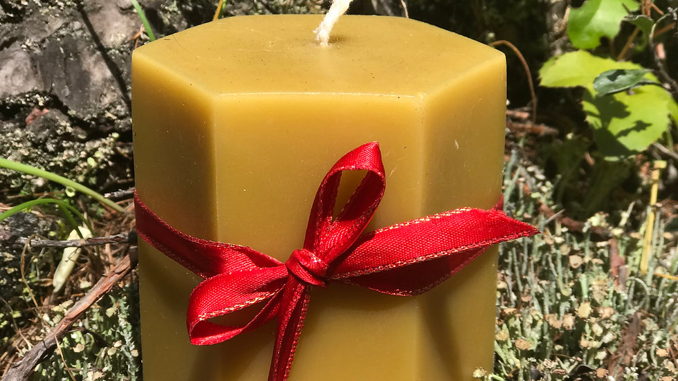 "Large 3½"" Hexagon Beeswax Pillar Candle"