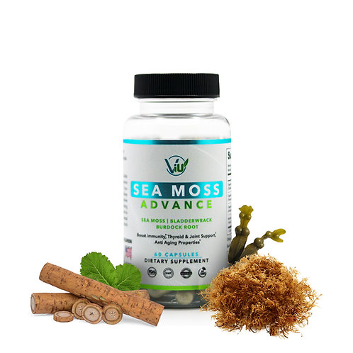 Sea Moss Capsules with Bladderwrack and Burdock Root and Black Pepper