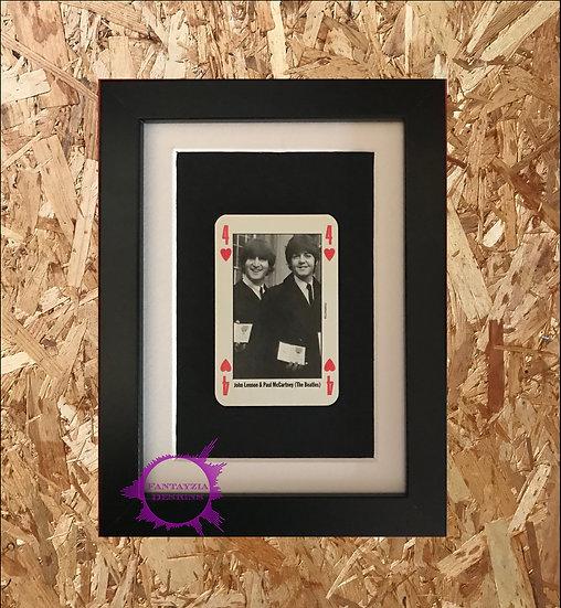 John Lennon & Paul McCartney (The Beatles) NME Framed Vintage Card