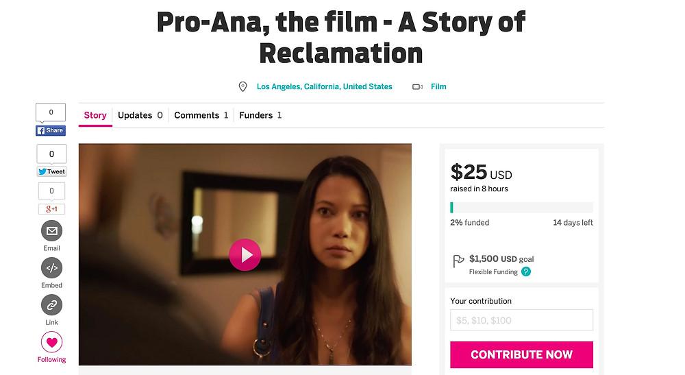 Indiegogo Pro-Ana, the film