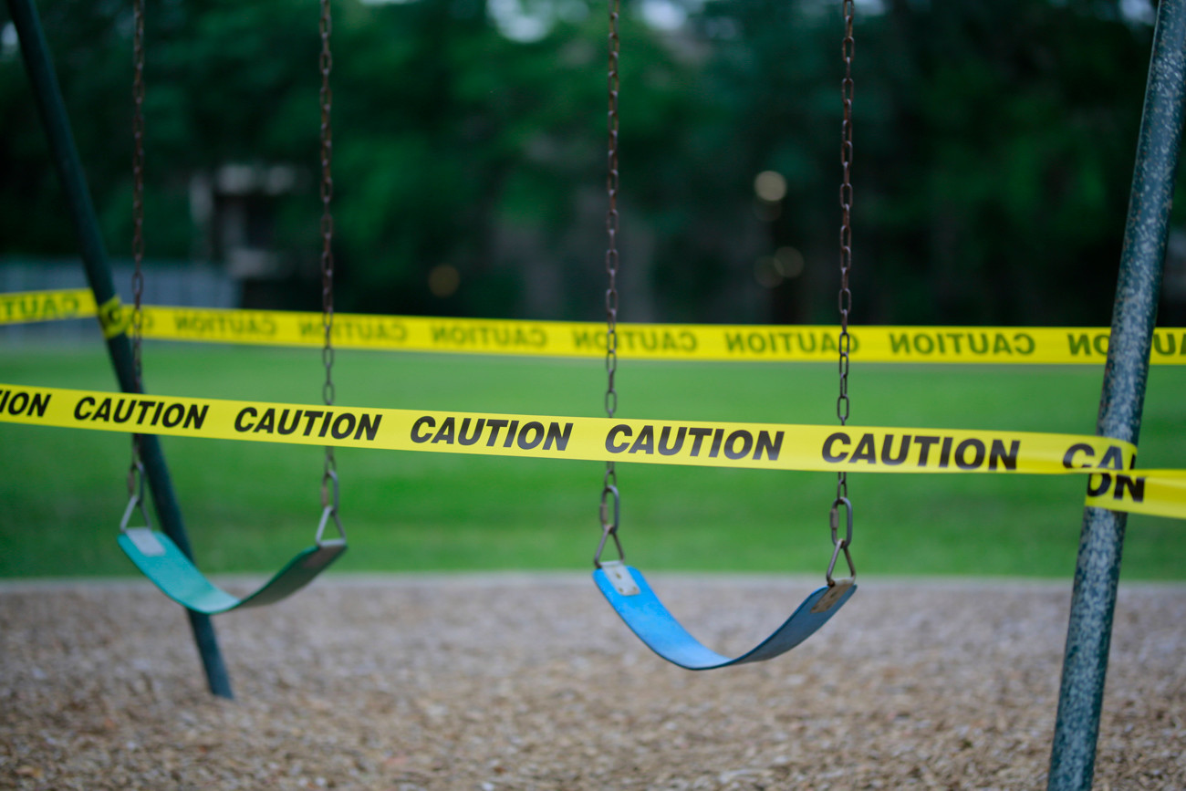 Caution Tape Around Swings Due to Covid-19 Concerns // 2020.