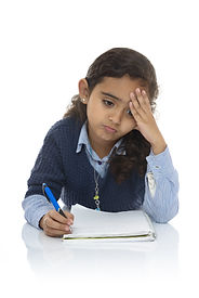 Cute Young Girl Studying Hard Isolated o