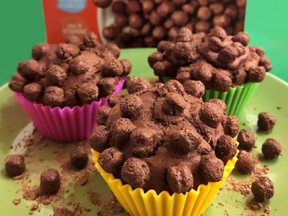 Triple chocolate muffins with cocoa cereal balls