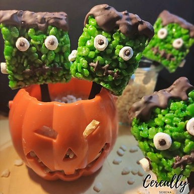 Frankenstein Rice Krispies Pops