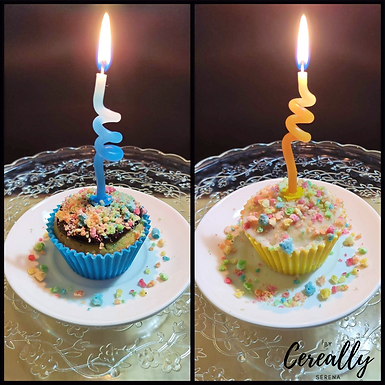 Birthday cake cereal muffins