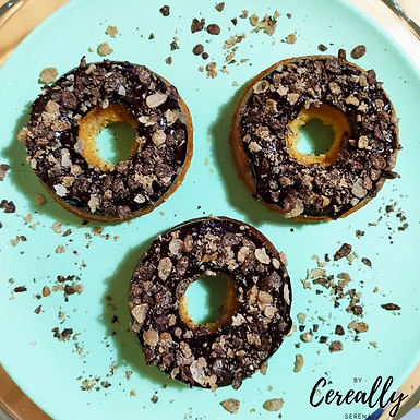 Peanut Butter & Cocoa Pebbles baked donuts