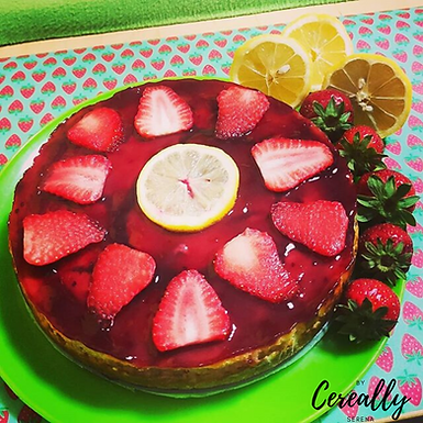 Lemon & berry cheesecake with Corn Flakes crust