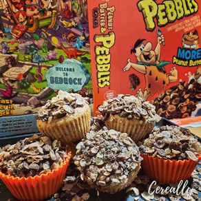 Peanut Butter & Cocoa pebbles surprise muffins!
