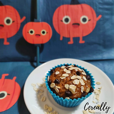Healthy pumpkin & chocolate oat muffins