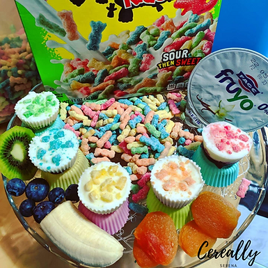 Rainbow frozen yogurt bites with Sour Patch Kids cereal and fruit