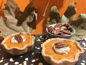 Mini sweet potato pies with sourdough oat crust