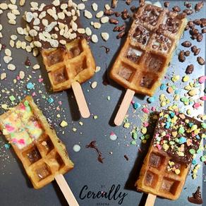 Breakfast cereal waffle pops