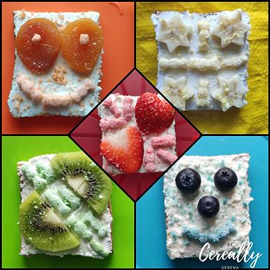 Rainbow cereal toasts!