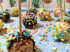 Rainbow cereal cake pops