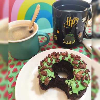 Cocoa Krispies baked donuts