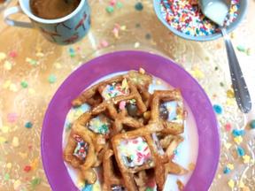 Birthday cake waffle cereal