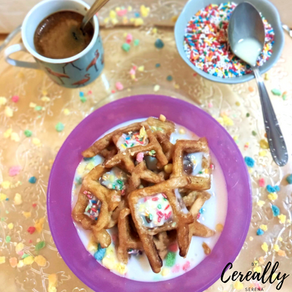 Birthday cake waffle cereal