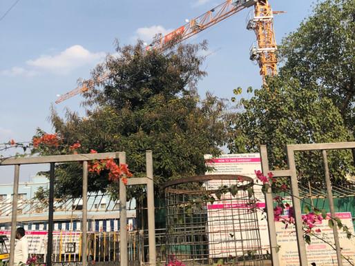 Una Potain MCT 85 en la construcción de un nuevo templo en India