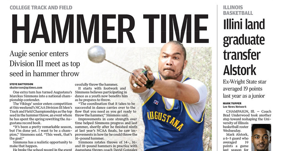Quad City Times sports section cover
