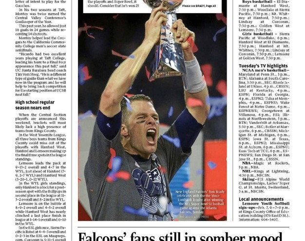 Hanford Sentinel sports section cover