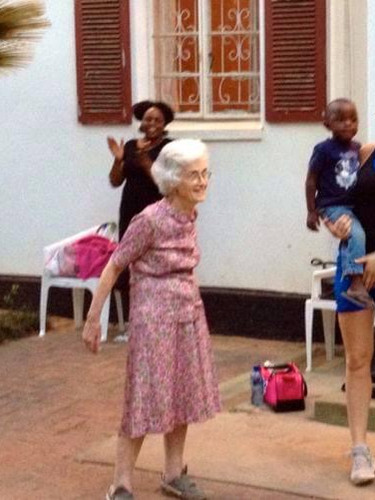 The clinics oldest and youngest patients at a weekly workout class