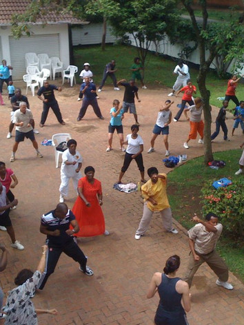One of the weekly workout classes held at the Zimbabwe Clinic