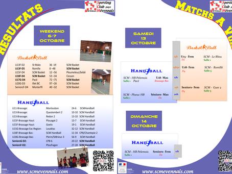 Agenda Sportif SCM du weekend du 13 octobre