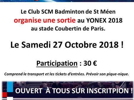Venez avec la section Badminton assister aux Internationaux de France à Paris - Samedi 27 Octobre 20
