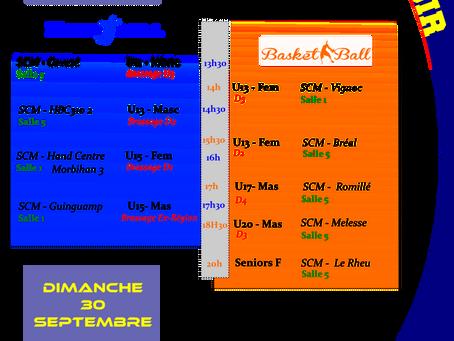 Agenda Sportif SCM weekend 29 septembre
