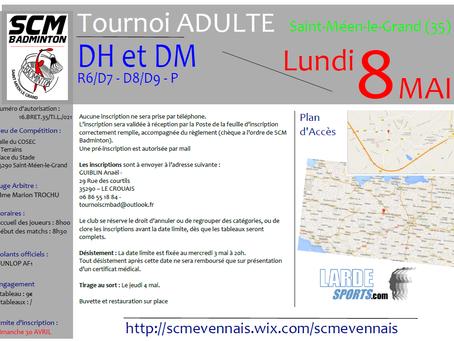 Tournoi Adulte DH et DM du 8 Mai - Les convocations en ligne ....
