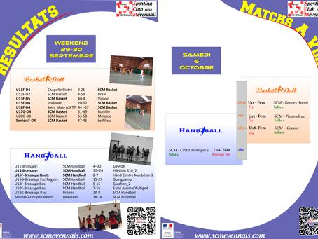 Agenda Sportif SCM du weekend du 6 octobre 2018