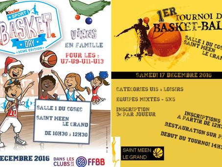 Samedi 17 décembre : journée Basket avec le Kinder Day et le 1er Tournoi Basket Mévennais