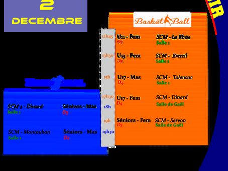 Agenda Sportif SCM du we du 02/12