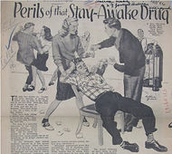 1950s pop media article about amphetamines, w/ image of kids partying