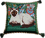Cushion with tapestry set into 2-4 inch border and hand sewn furnishing cord