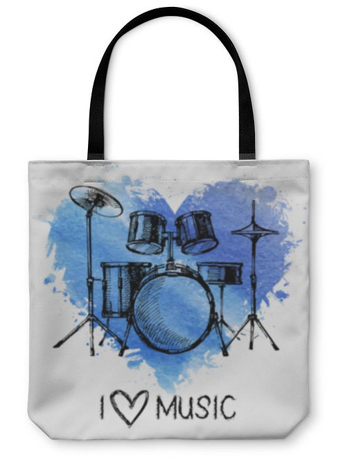 Tote Bag, Music With Splash Watercolor Heart and Sketch