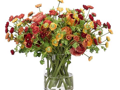 Ranunculus - Glass Vase Silk Arrangement