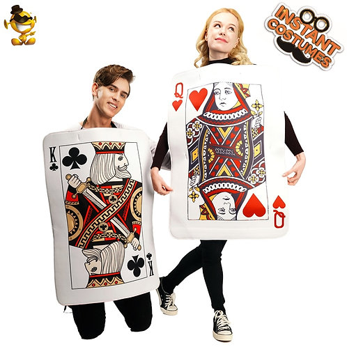 Adult Couples Queen of Hearts Costumes Cosplay Playing Cards Tunic