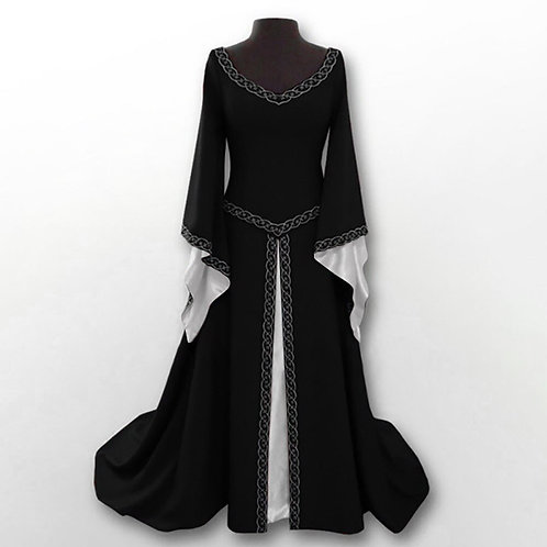 Fancy Medieval Queen Princess Long Pleated Flare Sleeve Dress Cosplay Costume