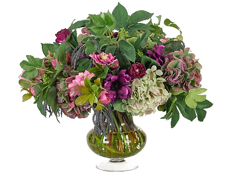Hydrangea Anemone (Purple/Green) - Glass Urn