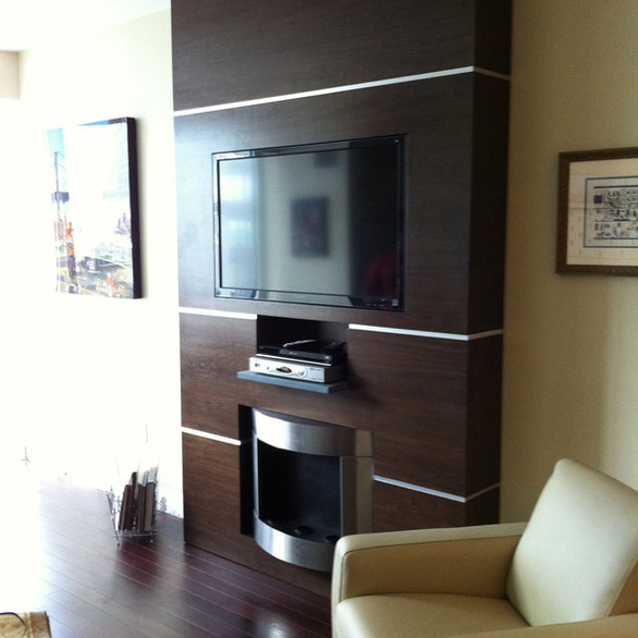 Custom TV and Fireplace