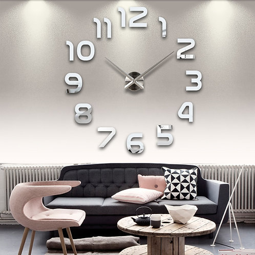 *New 3d Acrylic Mirror Stickers Wall Clock with Quartz Needle
