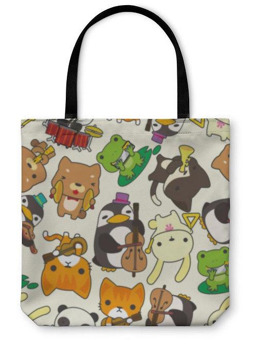 Tote Bag, Cartoon Animal Play Music Pattern