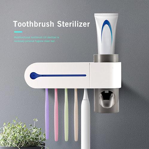Toothbrush Sterilizer (Antibacterial UV Light) Dispenser & Tooth Brush Holder