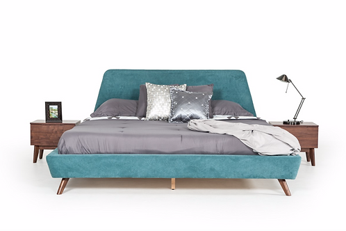 Lewis Mid-Century Modern Teal & Walnut Bed - King Bed Only